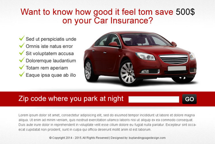 zip capture car insurance ppv landing page design