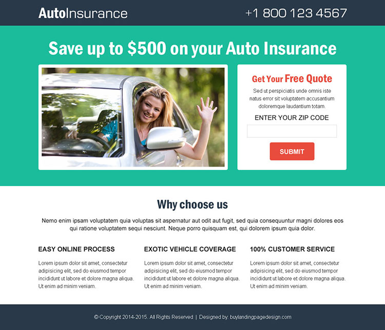 auto insurance free quote clean and simple lead gen responsive landing page design