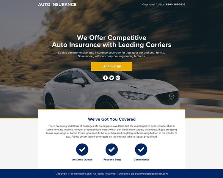 auto insurance lead funnel landing page design