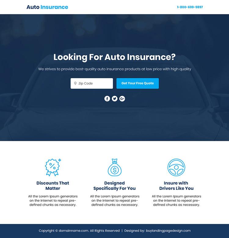 auto insurance sales funnel responsive landing page