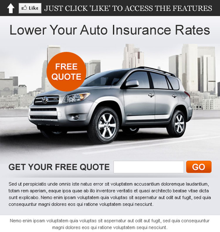 lower your auto insurance rates html fan page template