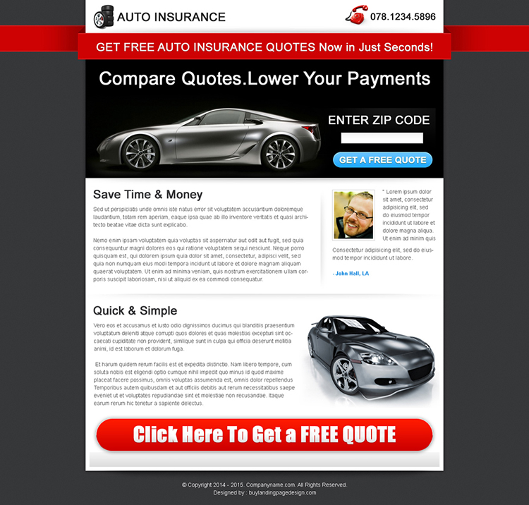 effective lead capture auto insurance squeeze page design