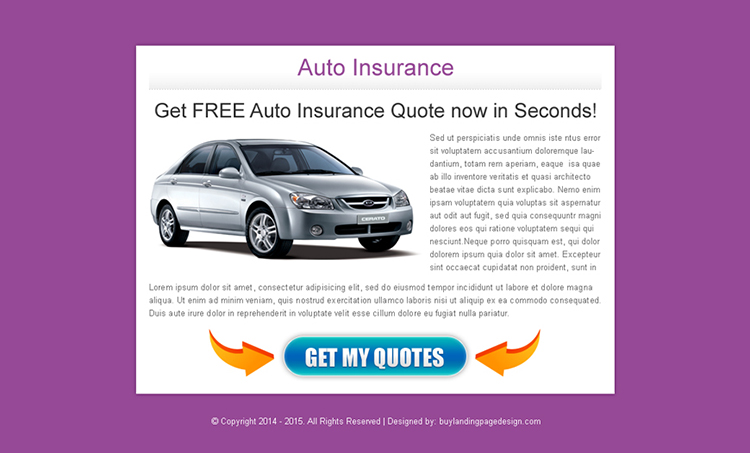 auto insurance quote in second call to action ppv landing page design