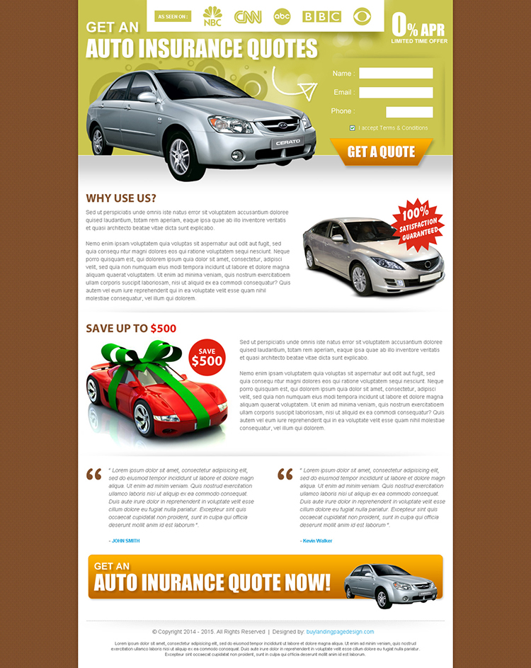 auto insurance quote small lead capture effective and clean landing page design
