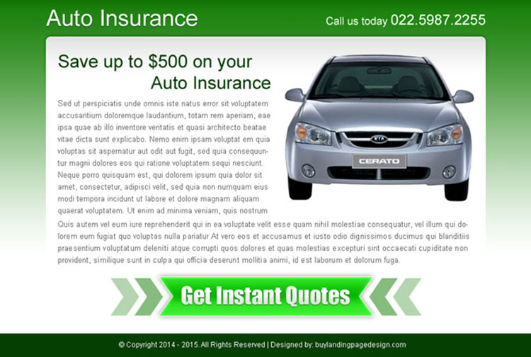 auto insurance instant quote call to action ppv landing page