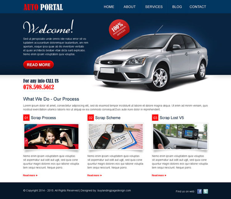 creative call to action website template design psd for auto portal website