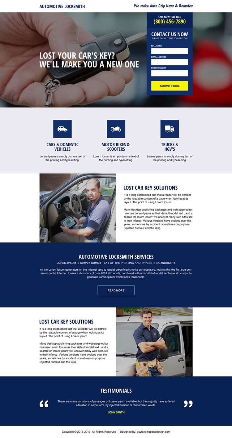 automotive locksmith service landing page design