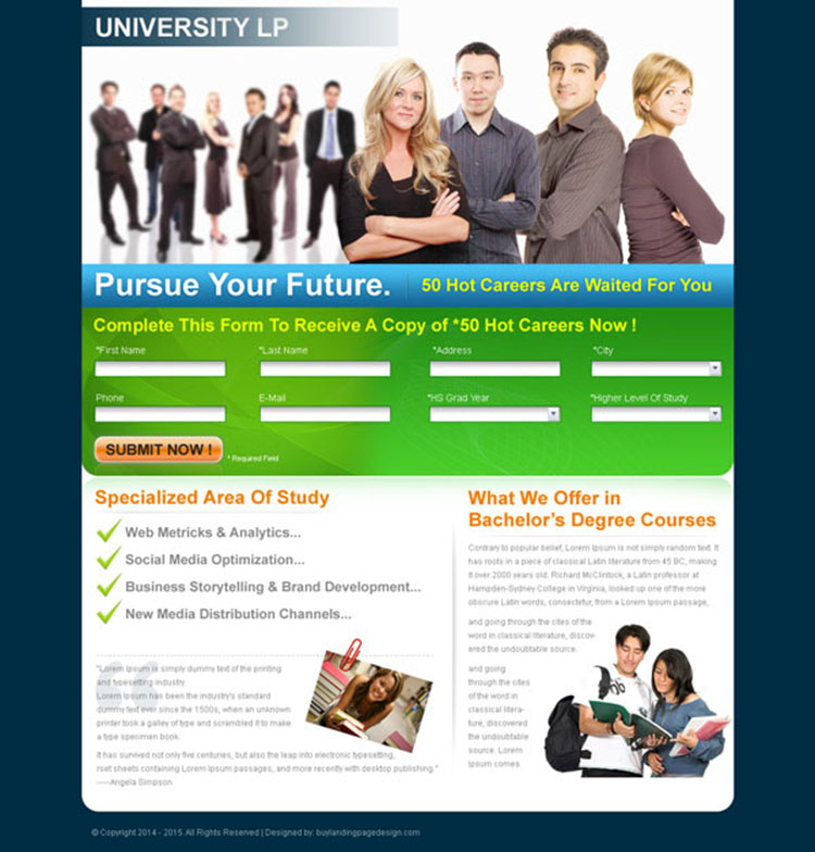bachelors degree education landing page design for sale