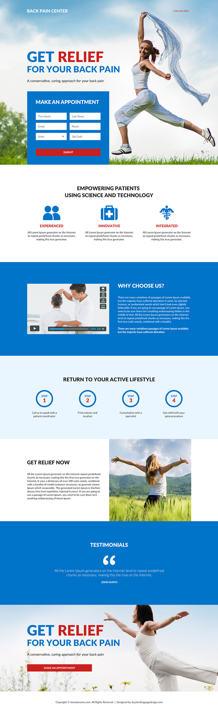 back pain relief center responsive landing page design