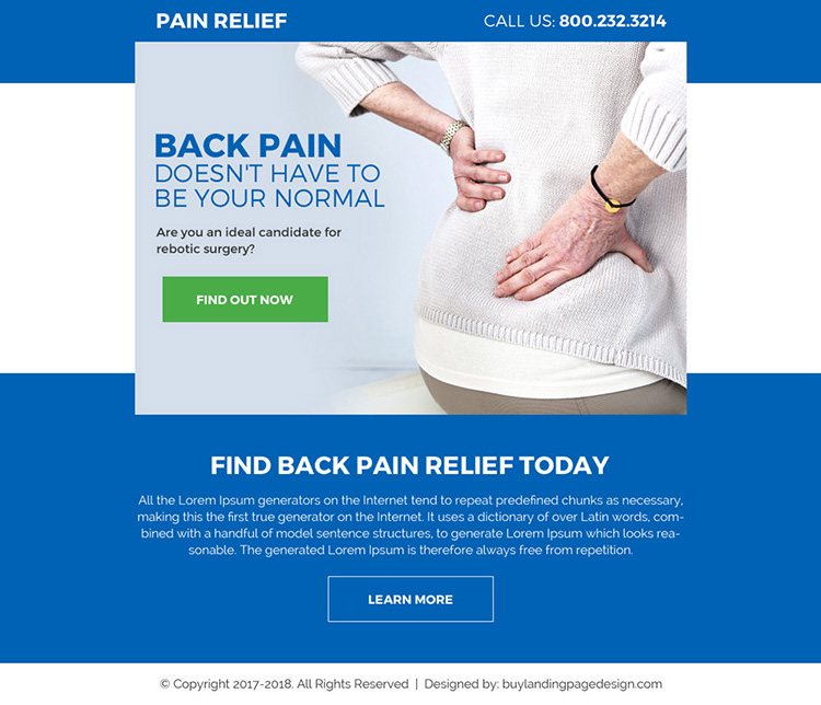 pain relief treatment pay per click ppv landing page