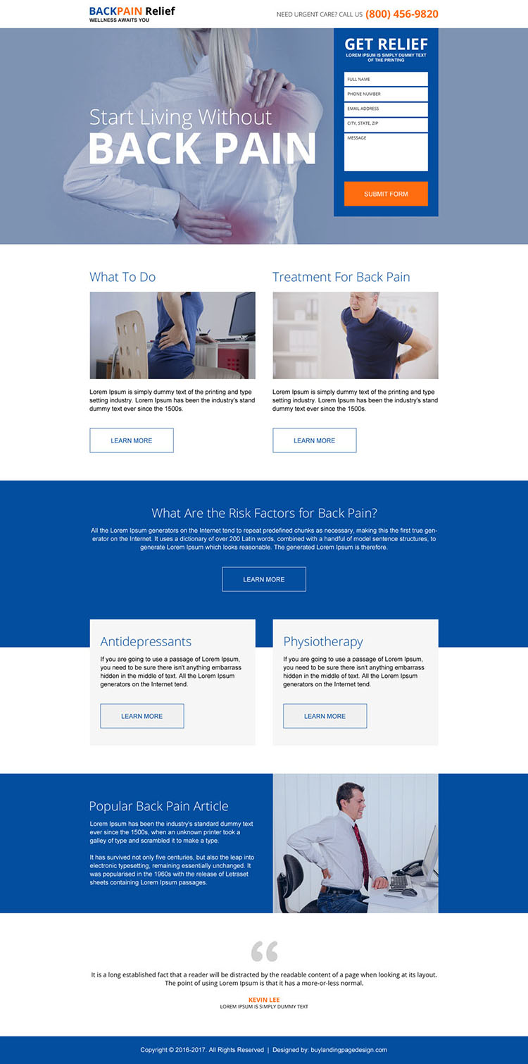 responsive back pain relief treatment lead gen landing page