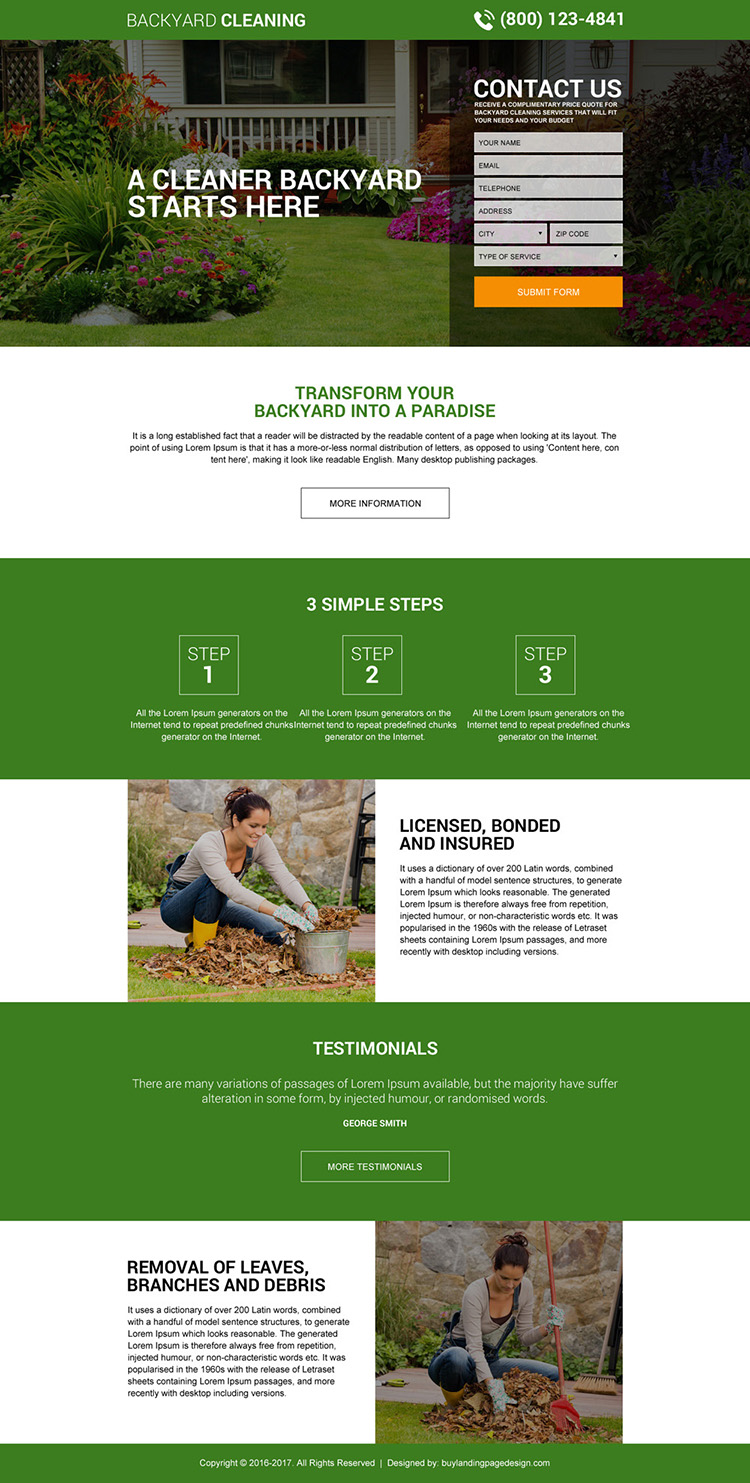backyard cleaning service lead gen landing page design