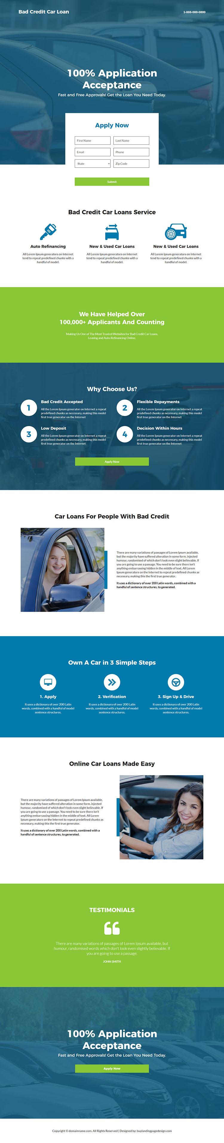 bad credit car loan service responsive landing page