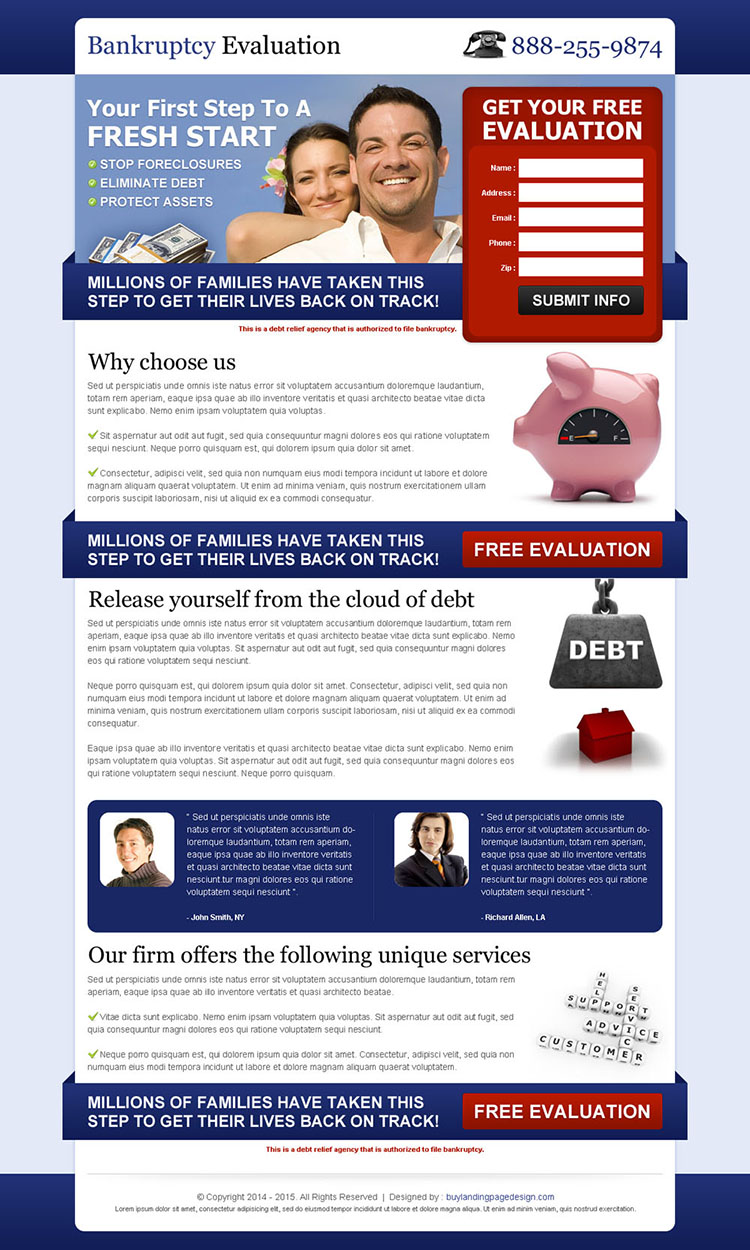 bankruptcy free evaluation effective and appealing debt lead gen landing page