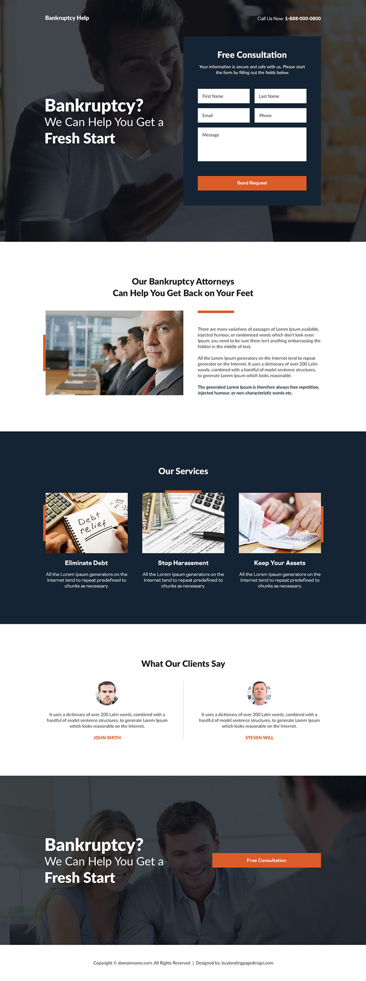 bankruptcy financing counselling responsive landing page