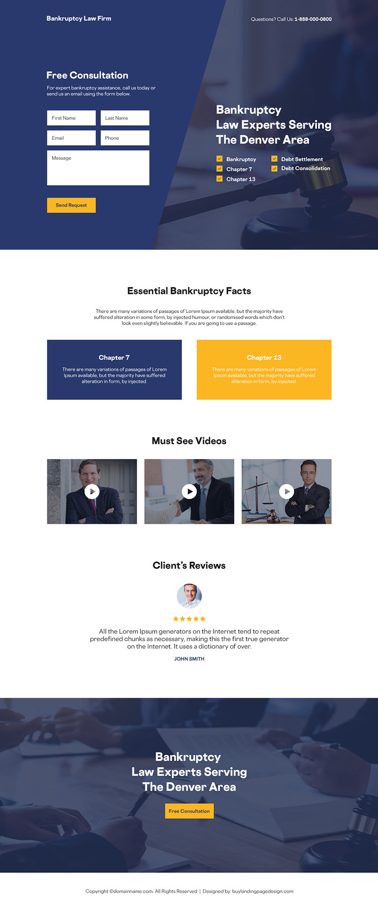bankruptcy law firm free consultation responsive landing page