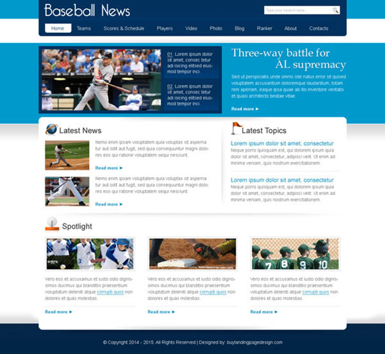 baseball news clean and informative website template design psd