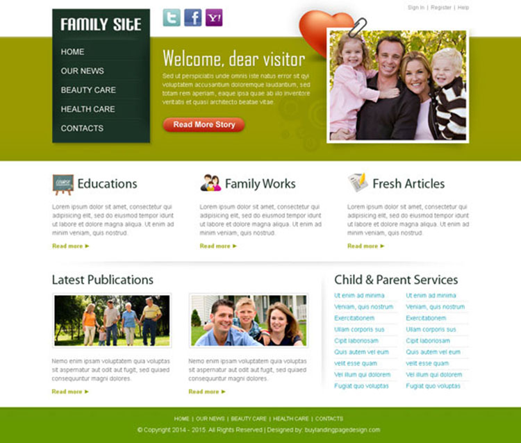 beautiful family website template design psd to create informative website