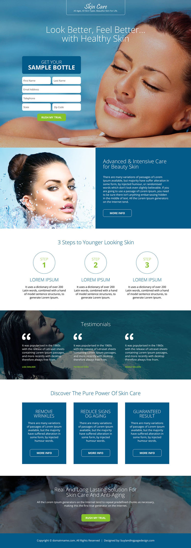beautiful and appealing skin care responsive landing page design