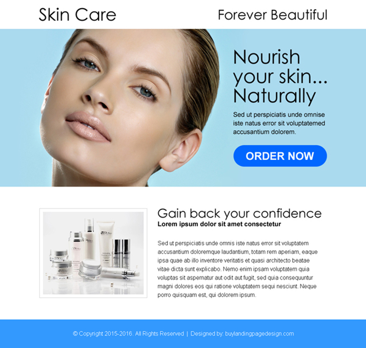 beautiful skin care product selling ppv landing page design