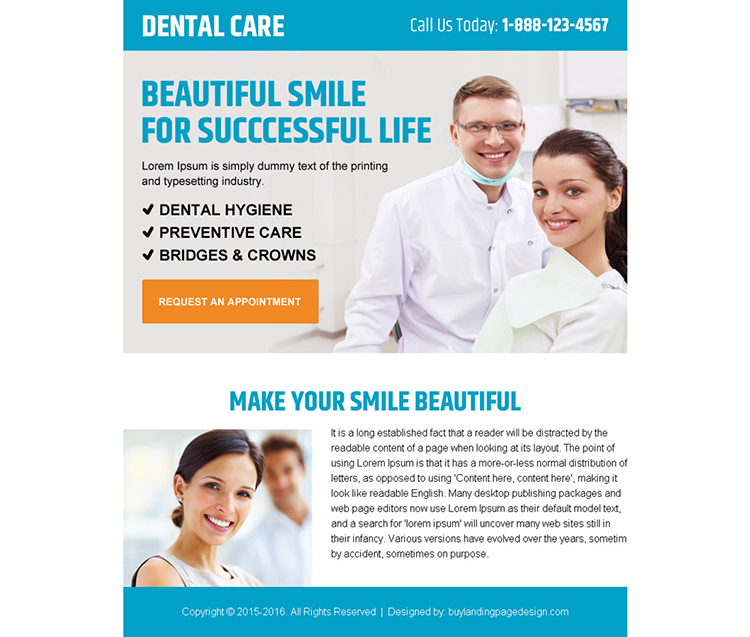 beautiful smile dental care call to action ppv landing page design