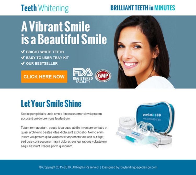 beautiful smiling teeth whitening kit ppv landing page design