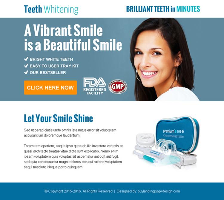 beautiful smiling teeth whitening kit ppv landing page design