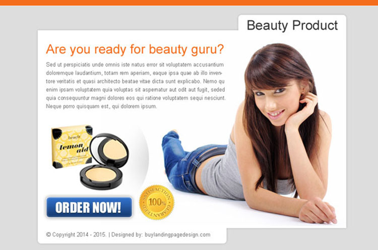 beauty product effective order now ppv landing page design