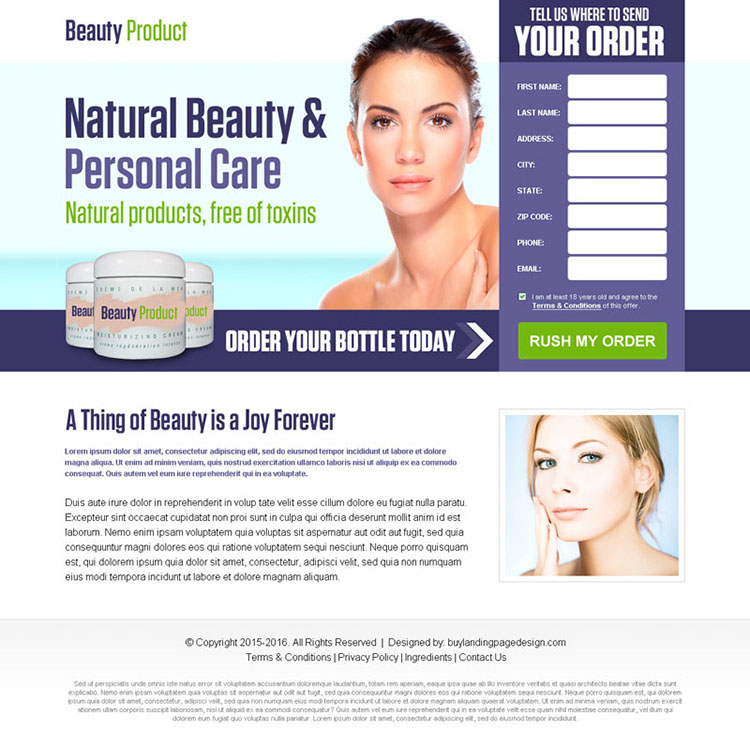 beauty product selling bank page lander design