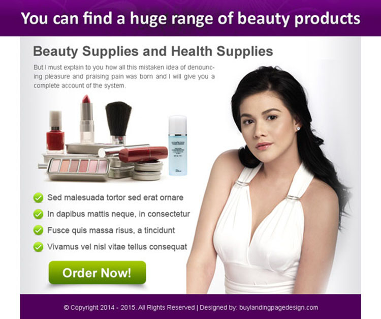 huge range of beauty products order now ppv landing page design