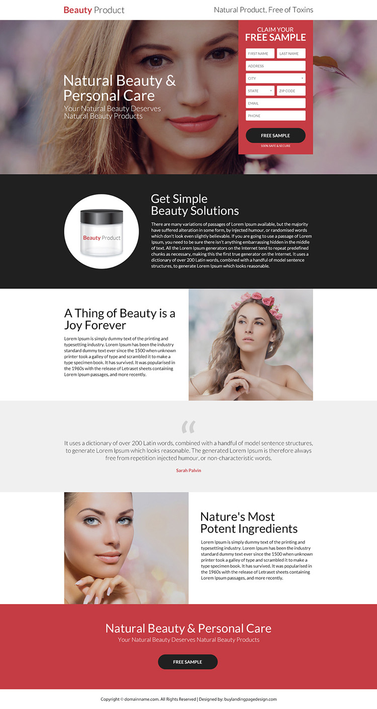natural beauty and personal care landing page design