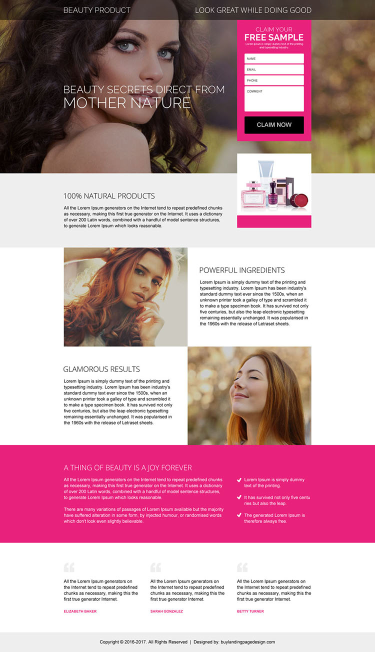 beauty product free sample claiming landing page design