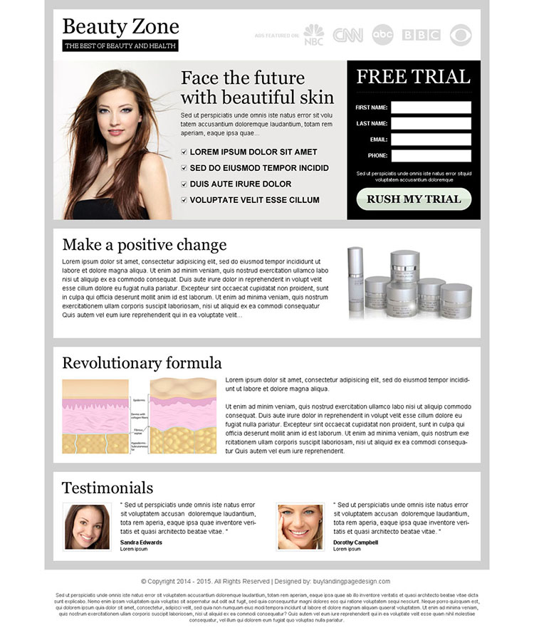 face the future with beautiful skin clean and attractive lead capture landing page