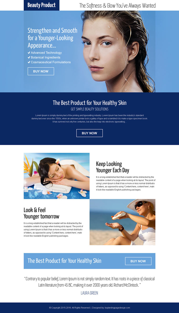 beauty product pay per click responsive landing page