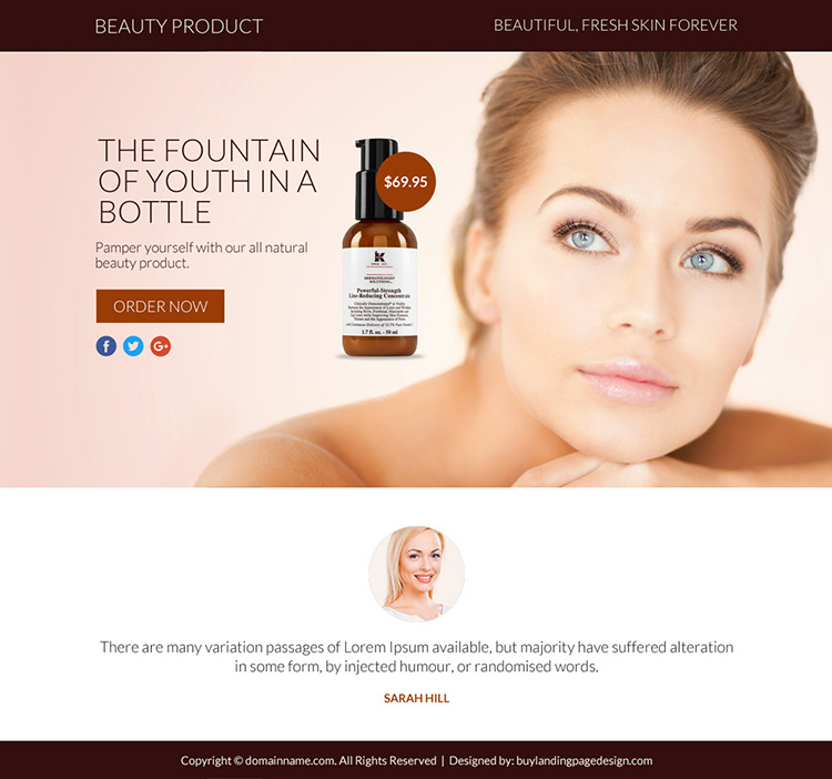 beauty product selling responsive funnel page design