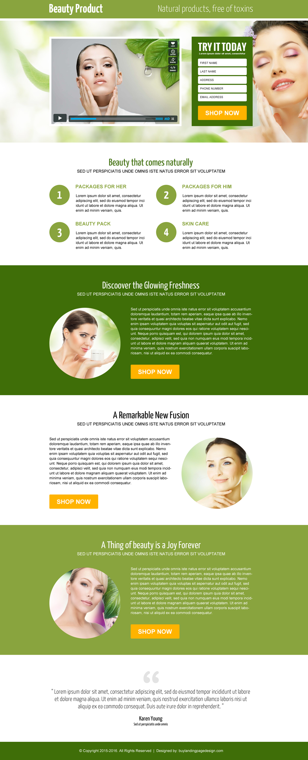 beauty product video lead capture landing page design