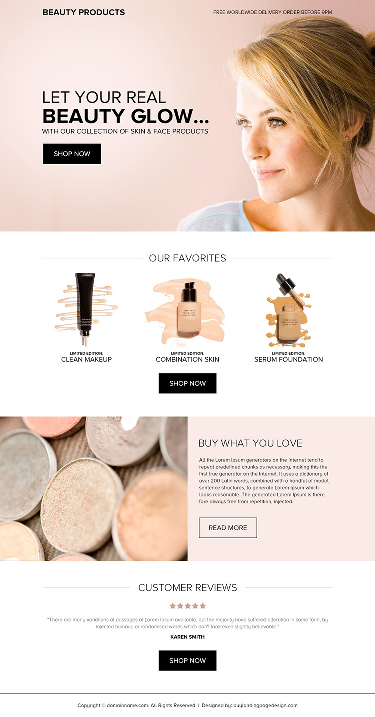 skin and face products selling bootstrap landing page