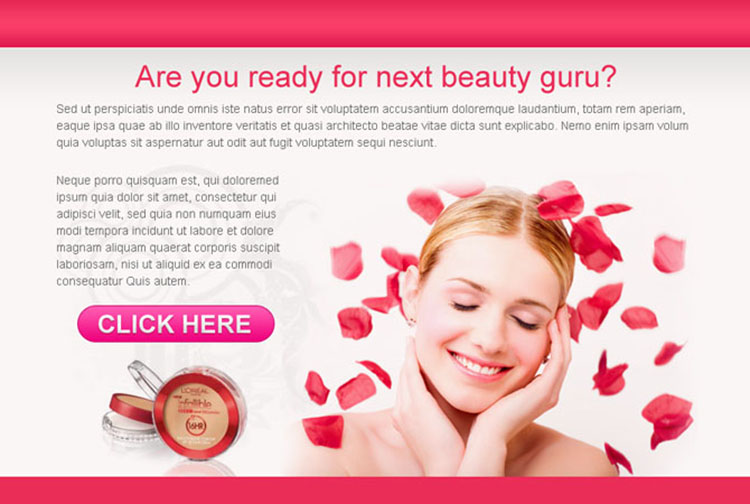 beauty product effective ppv landing page design template