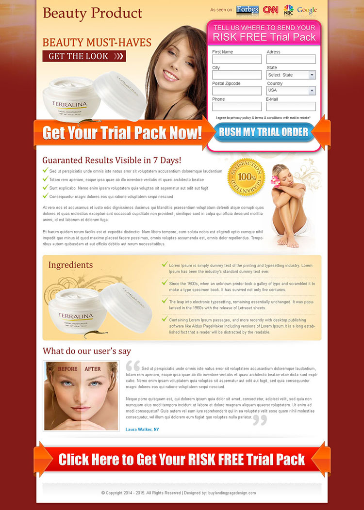beauty product risk free trial 2 column lead capture landing page design