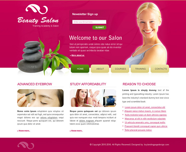 beauty salon website template psd for sale