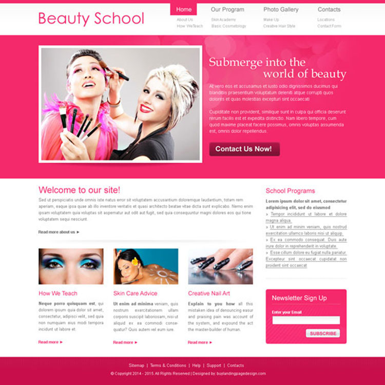 beauty school visually attractive and appealing call to action website template psd