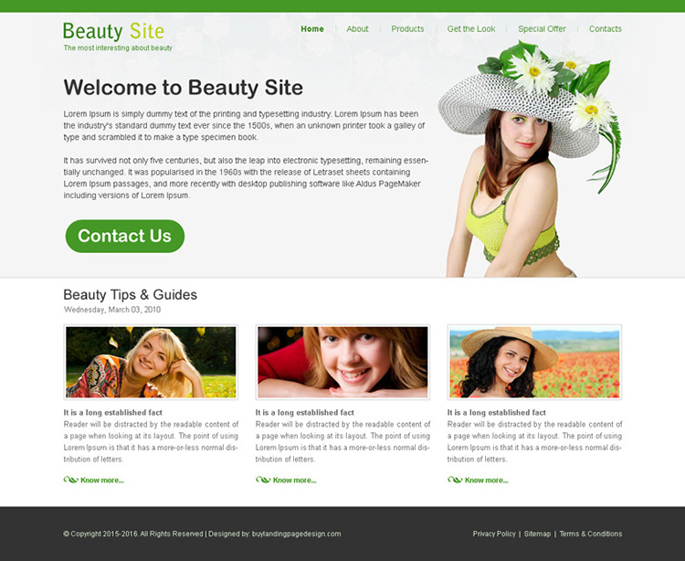 beauty service website template design psd