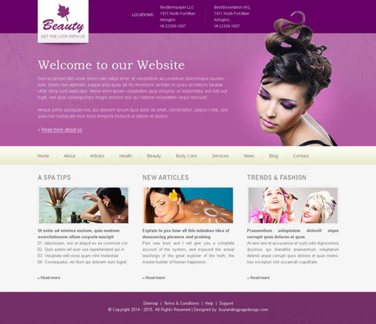 clean and attractive beauty website template design psd