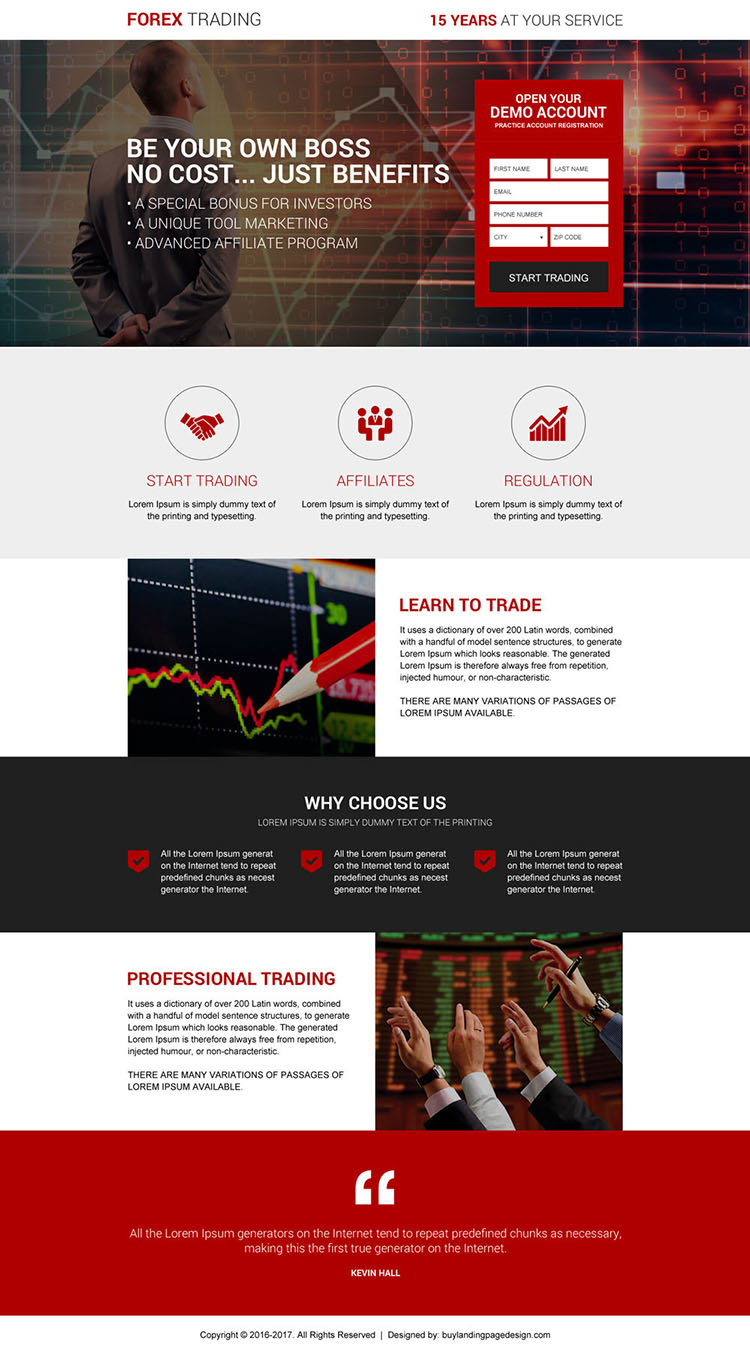forex exchange trading broker lead capturing landing page