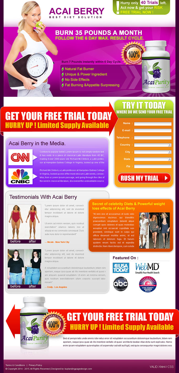 effective and converting acai berry weight loss landing page design template for sale