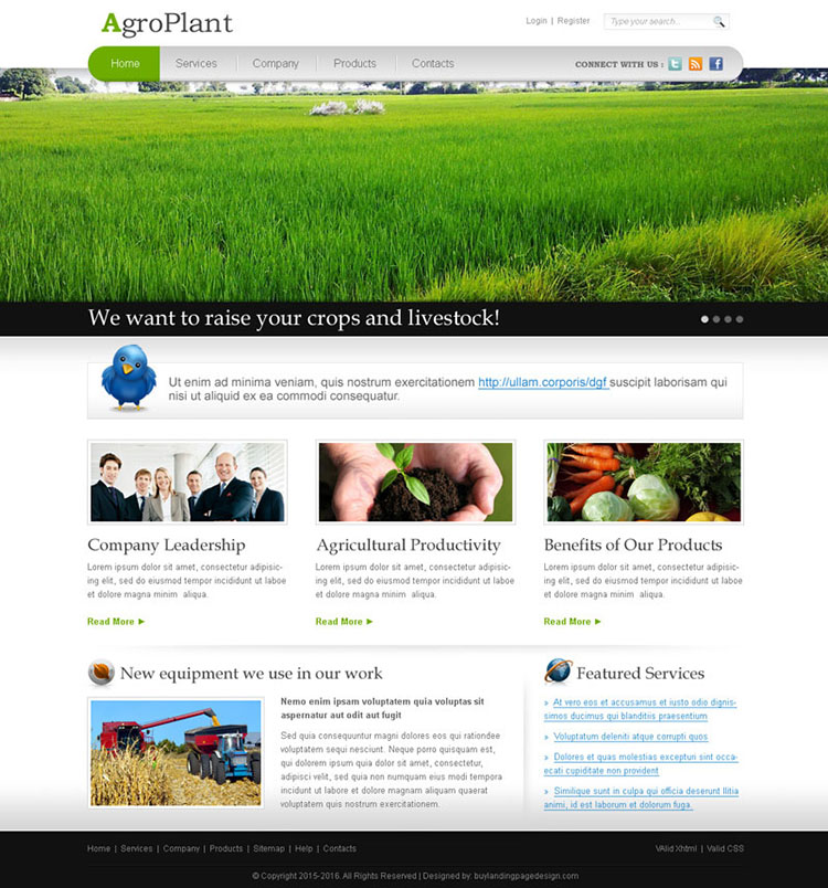 best agriculture website template design psd for sale on affordable price