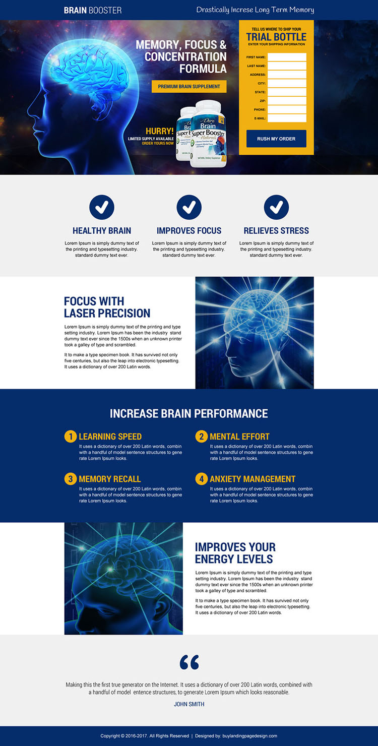responsive brain booster supplement landing page design