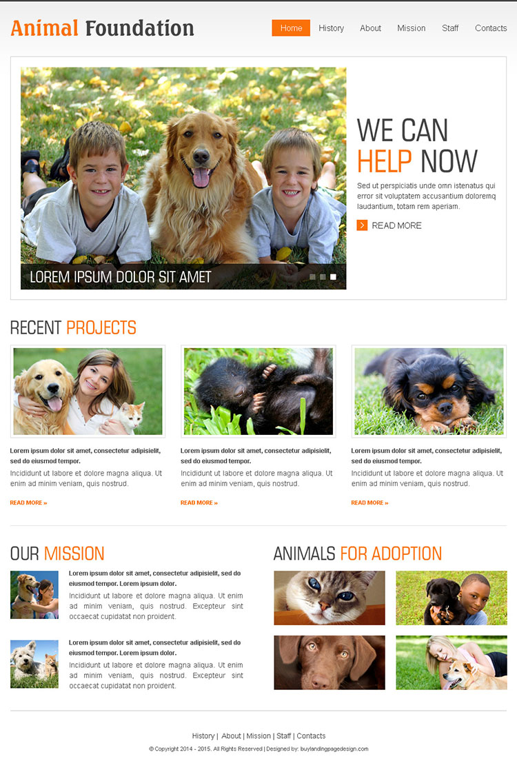animal foundation clean and effective html website template design
