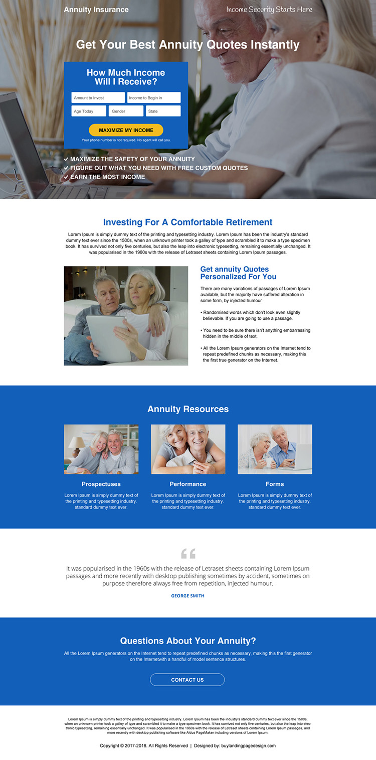 best annuity insurance lead capturing landing page design