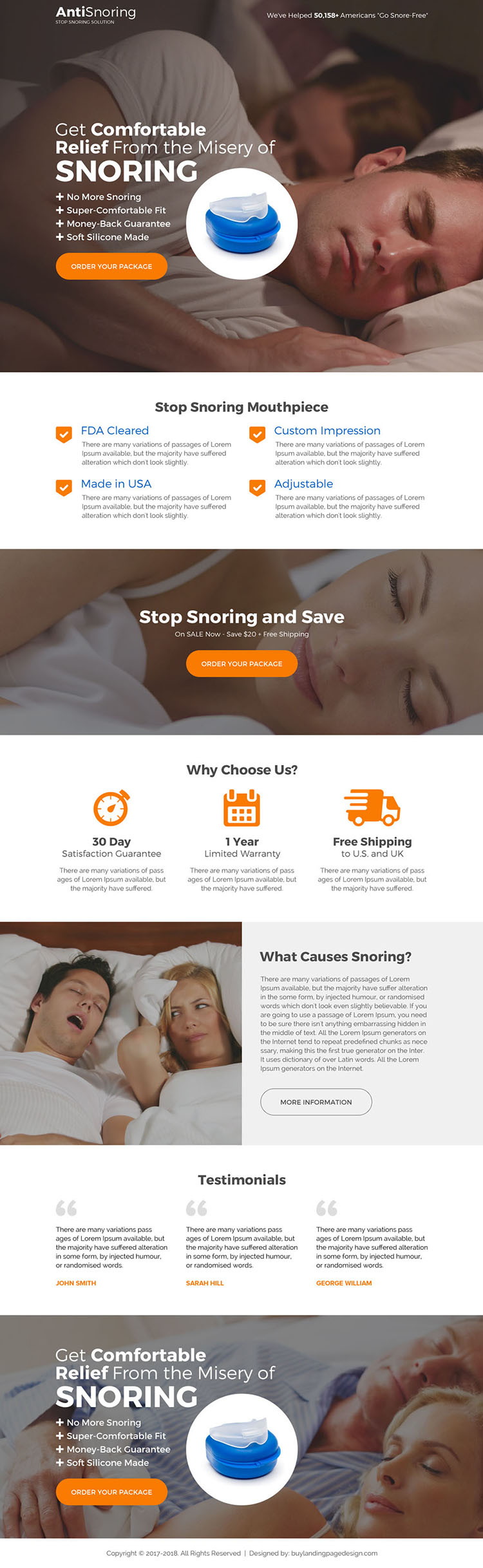 best anti snoring device selling landing page design